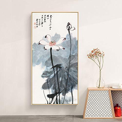 YuanMinglu Chinesisches abstraktes Plakatdruckwandbild Lotusblumen- und Charakterkunstbild im chinesischen Stil auf Leinwand, verwendet für Wohnzimmerdekoration rahmenlose Malerei 40x80cm