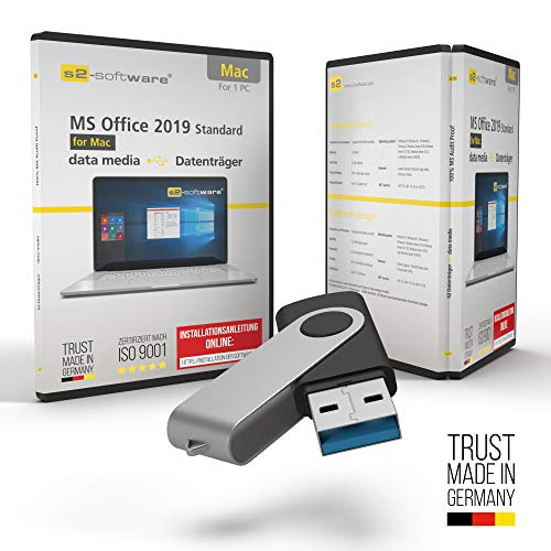 MS Office 2019 Office für Apple Mac –USB Stick- mit Original Lizenz & Lizenzunterlagen inklusive Lizenzrecht und Produkt-Lizenzschlüssel – Unbegrenzte Laufzeit für Ihr MacBook, iMac
