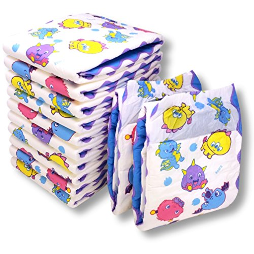 Rearz - Lil' Monsters - Adult Diapers ABDL (12 Pack) (Large - 38'' - 53'')