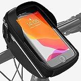 Velmia Bike Phone HandlebarBag[Waterproof] - Bicycle Front Frame Bag with Working Fingerprint - Bike Phone Mount Bagfor Smartphones up to 6.4' - Bike Phone Holder Case - Simple mounting