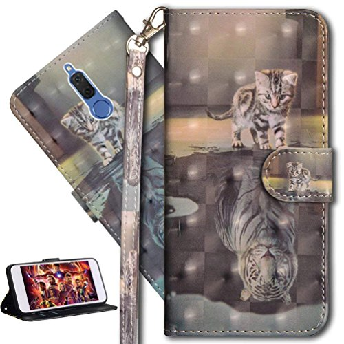 HMTECH Huawei Mate 10 Lite Custodia Cover Portafoglio,Huawei Mate 10 Lite Custodia 3D Pittura Colorata Wallet Shock-Absorption Magnetica Supporto Bumper Cover Leather Flip Cover,YX Cat Tiger
