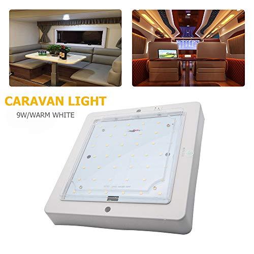 Baceyong 12 V LED RV Plafón para caravana, autocaravana, barco, techo, luces de luz cálida/luz blanca
