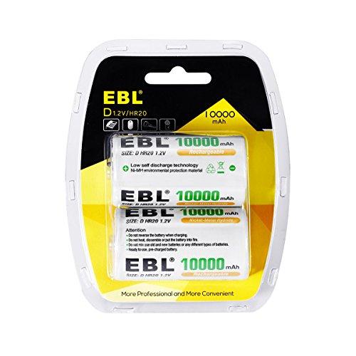EBL Akku D 10000 mAh NiMH 1,2 V Mono D wiederaufladbar Batterien (2 Stück)