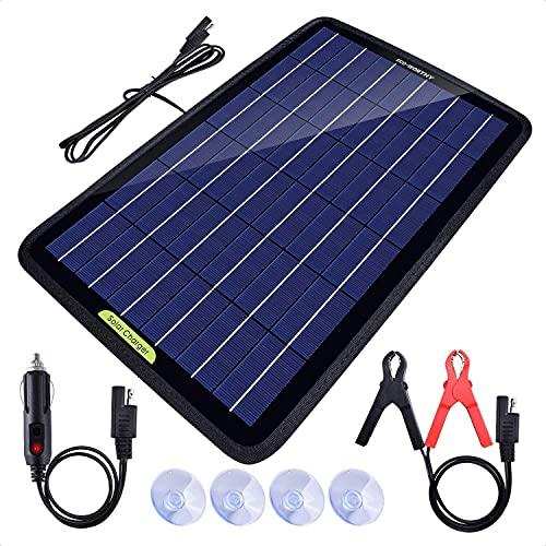 XBR Luces solares a Prueba de Agua, ecológicas, 12 voltios, 10 vatios, energía portátil, Panel Solar, Cargador de batería, Respaldo para Coche, Barco, con Adaptador de Pinza de cocodrilo, Color Negro