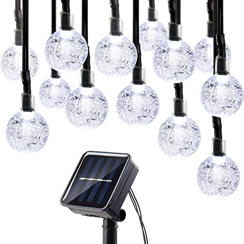 lederTEK Solar Powered Waterproof Fairy String Lights 20ft 30 LED 2 Modes Crystal Globe Christmas Decorative Lamp for Outdoor, Garden, Home, Wedding, Xmas New Year Party (30 LED White)