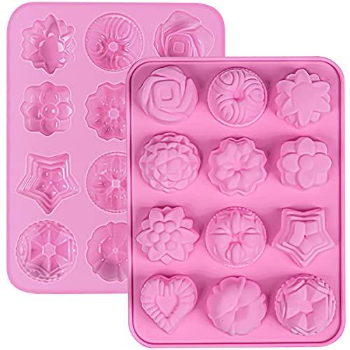 2 Stück Silikon-Blumen-Backform rosa