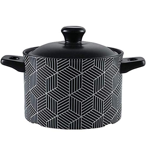 Heat-Resistant Sustainable Pan,Ceramic Pan Dish with Lid,Great for Braising Slow Cooking Slow Simmering Big Soup Pot 4.5l