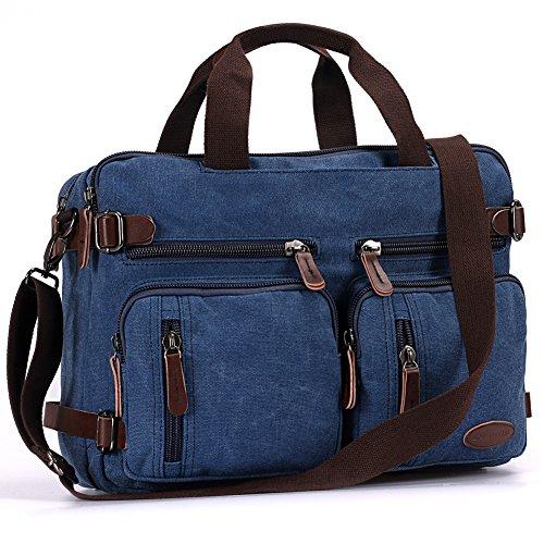 Laptop Backpack,Hybrid Multifunction Briefcase Messenger Bag with Shoulder Strap for Men,Women (15.6 inch, Vintage Blue)