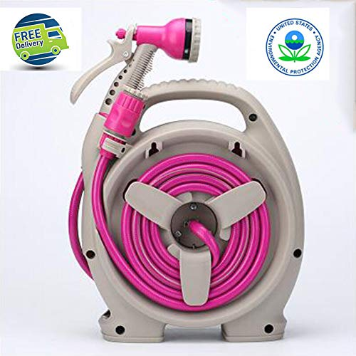 LBIBNL Flexibler Gartenschlauch-Reel Mit 6-Pattern-Gartendüse Leichter Kleiner Speicher / 11.5m / 13.5m,Pink