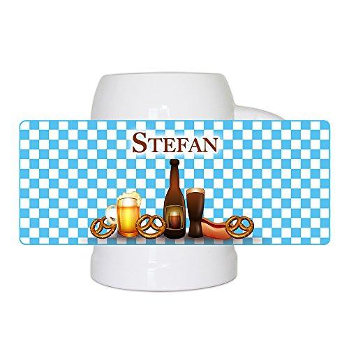 Bierkrug mit Namen Stefan und bayerischem Motiv mit Brezn und Bier für Männer | Bier-Humpen | Bier-Seidel