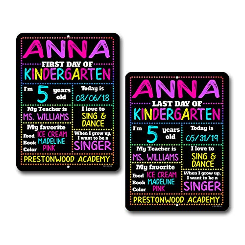 First and Last Day of School ( Set of 2 ) Rainbow Stars Chalkboard Style Photo Prop Tin Sign - 9 x 12 inch Reusable Easy Clean Back to School - USE Liquid Chalk Markers to Customize (Not Included)