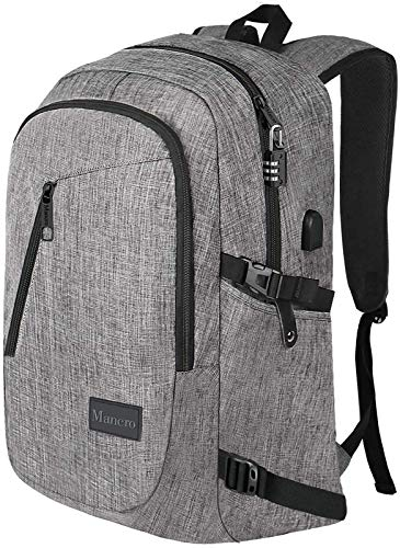 Mancro 17.3 Inch Laptop Backpack, Large Travel Laptop Backpack with USB Charging Port, Anti Theft Water Resistant Business Backpack for Men and Women, Durable Lightweight School College Bag, Grey