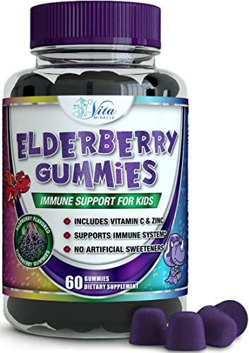 Sambucus Elderberry Gummies for Kids – with Vitamin C and Zinc Childrens Immune Support Booster Gummy – Organic Vegan All Natural