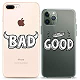 Cavka Matching Couple Cases Replacement for iPhone 12 Pro 5G Mini 11 Xs Max 6s 8 Plus 7 Xr 10 SE X 5 Bad Good Relationship Best Friend Angel Gift Devil Funny Clear Silicone Cover Anniversary Her Him