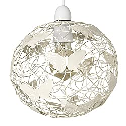 Modern Cream Ceiling Light Pendant Lampshade with Butterflies - Ideal For Living Rooms, Hallways and Bedrooms Lattice Wire Globe Design - Allows The Ambient Light To Filter Through Evenly Measurements: Height 200mm x Diameter 220mm 1 x 60w BC B22 GLS...