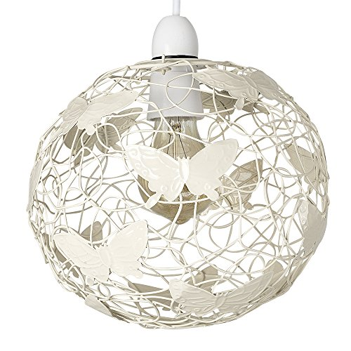 Modern Cream Wire Frame Globe Ceiling Pendant Light Shade with Decorative Butterflies