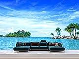 Fotomural Vinilo Pared Palmeras Isla Playa | Fotomural para Paredes | Mural | Vinilo Decorativo | Varias Medidas 200 x 150 cm | Decoración comedores, Salones, Habitaciones.