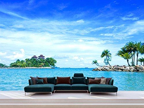 Fotomural Vinilo Pared Palmeras Isla Playa | Fotomural para Paredes | Mural | Vinilo Decorativo | Varias Medidas 350 x 250 cm | Decoración comedores, Salones, Habitaciones.