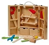 roba Werkzeugkoffer, großer Koffer mit Meister Werkzeug aus Holz, Meister-Werkbank mit...