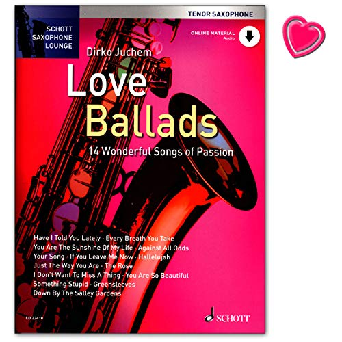 Love Ballads - 14 Wonderful Songs of Passion - für Tenor Saxophone - Notenbuch mit Online-Audio und bunter herzförmiger Notenklammer