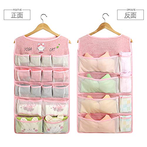 WAINIDE Simple Underwear, Underwear, Socks, Wardrobe Receiving Bags, Hanging Bags, Dormitory Clothes, Wardrobe Hang-up Artifacts,Clothes Rack,Upgrade and Extension - Pink Cat - 44 * 80cm