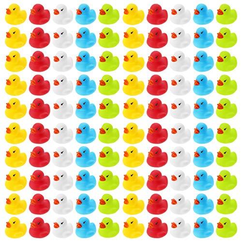 WELLGRO 100 Badeenten - bunt (gelb, rot, weiß, blau, grün), je Ente ca. 3,5 x 3 cm (ØxH), Gummiente, im Netz
