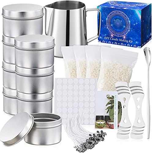Kit de Fabricación para Velas Bricolaje,1Jarra de Vela,8Frascos para Velas,4 Cera de Abeja Natural para Velas,50 Mechas para Velas de Caseras,56Pegatinas de Mechas para Velas y 2Soportes (DIY Kit)