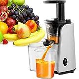 Licuadora lenta compacta, exprimidor para frutas y verduras, función de rebobinado, 2 recipientes de 500 ml