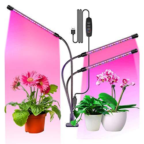 TUT Pflanzenlampe LED, USB LED Clip Pflanzenlicht Vollspektrum 3 Heads 60 LEDs, mit 3 Beleuchtungsmodi 10 Lichtstärken,360°Einstellbar LED Grow Lampe Pflanzenleuchte, Wachstumslampe mit Zeitschaltuhr