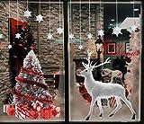 Heekpek Grande Árbol De Navidad Blanco Alces Pegatinas Navidad Ventana de Pared Feliz...