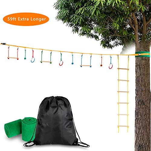 Best Bargain Thxbye 59FT Ninja Slackline Bar Kit Outdoor Tree Hanging Obstacles Line Accessories Pla...