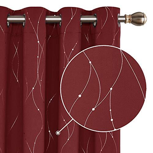 Deconovo Vorhänge gardine Wohnzimmer Gardienen Fenster 240x140 cm Rot 2er Set