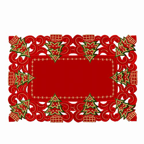 Grelucgo Embroidered Christmas Holiday Holly Tree Table Runner, Dresser Scarf, Rectangular 16 x 72 Inch