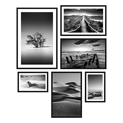 decomonkey | Poster 6er – Set mit schwarzem Rahmen schwarz-weiß Abstrakt Kunstdruck Wandbild Print Bilder Bilderrahmen Kunstposter Wandposter Posterset