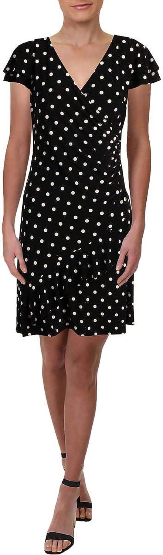 Lauren Ralph Lauren Womens Polka Dot Sheath Cocktail Dress