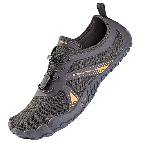 STEELEMENT. Dark Grey Minimalist Shoes for Men Zero Drop Trail Runners Gym Work Out Shoes Beach Pool Water Sports Shoes 8US-Dark Grey-40