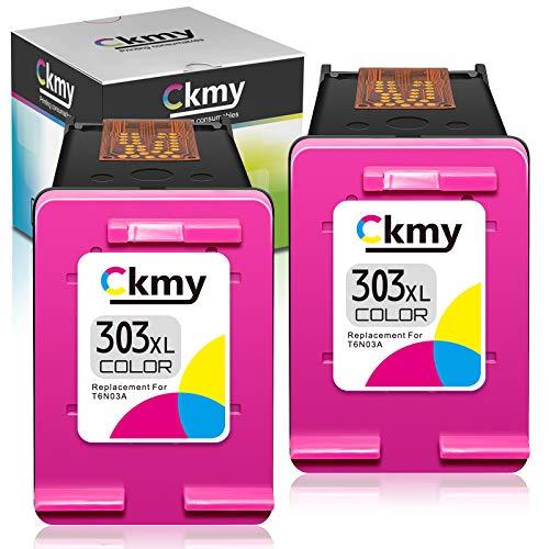 CKMY Remanufactured 303 XL - Cartuccia di ricambio per HP 303XL, 2 colori, per Envy Photo 7134 7830 6232 6230 7130 6220 6234 7100 7155 7800 7834 7855 78666 4 622. 2 6252 Tango X