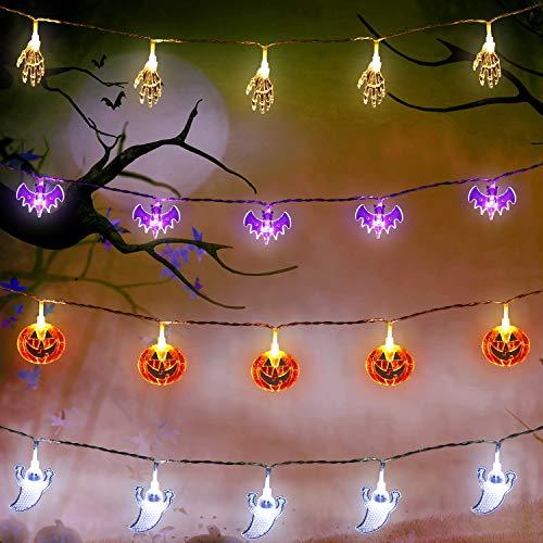 Set di 4 Luci della Festa di Halloween, 10 Piedi 20 LED Zucche Arancioni, Pipistrelli Viola, Fantasmi Bianchi, Mani Scheletro Bianco Luci a Corde Alimentate a Batteria per Decorazioni di Halloween