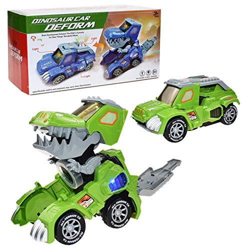 FENGLI Dinosaurio transformando el automóvil Juguetes eléctricos de la deformación automática T-Rex Coche con Sonido y luz LED, Juguetes de acción para niños Tyrannosaurus para niños de 3 años y más