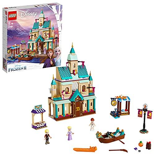 LEGO 41167 Disney Princess Frozen II Kasteeldorp Arendelle met Prinses Anna en Elsa met Kristoff minipoppen, Prinsessenkasteel, Markt en roeiboot, Kat en 2 vogels, set voor kids van 5 jaar en ouder