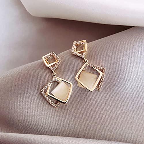 SALAN Pendientes De Clip Geométricos De Diamantes De Imitación para Mujeres Y Niñas Nuevo Pendiente Cuadrado Colgante Joyería De Fiesta Regalos Oro De Moda