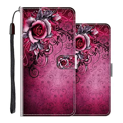 vingarshern Hülle für Huawei Nova 5T Handytasche Klappbares Magnetverschluss Lederhülle Flip Etui Standfunktion Schutzhülle Huawei Nova 5T Hülle Leder Brieftasche(Lila Rose) MEHRWEG