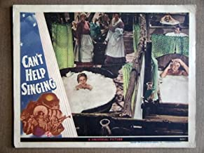 EB05 Can't Help Singing DEANNA DURBIN 1944 Lobby Card. Here's a terrific lobby card from the original release of CANT HELP SINGING featuring a great image of DEANNA DURBIN and ROBERT PAIGE. Lobby card is in EXCELLENT-condition. Some pinholes, no stains, no tears, faint fold not visible from front of card