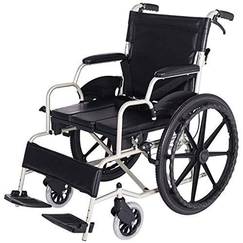 KANJJ-YU Portátil con Silla de Ruedas sillas de Ruedas Travel Silla Luz de Transporte Plegable de Aluminio de aleación de punción colisión Llevar Ancianos Recorrido del trole Andadores GFJH Plegable