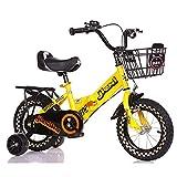 HUAQINEI Bicicleta de niño niña de 12/14/16/18 Pulgadas, Bicicleta para niños de Acero con Alto Contenido de Carbono, Amarillo, Rosa, Verde