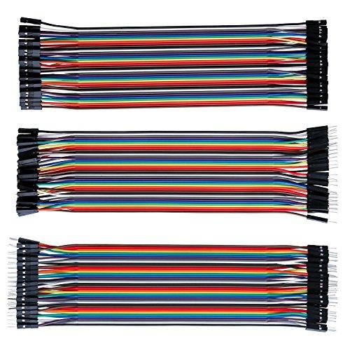 Jumper Wire Dupont Kable Jumpers - ALLEU J7011 120PCs Buntkabel 40 x 20CM Femmina-Femmina, Maschio-Femmina, Maschio-Maschio per Arduino Raspberry pi Felpa per Arduino Raspberry pi