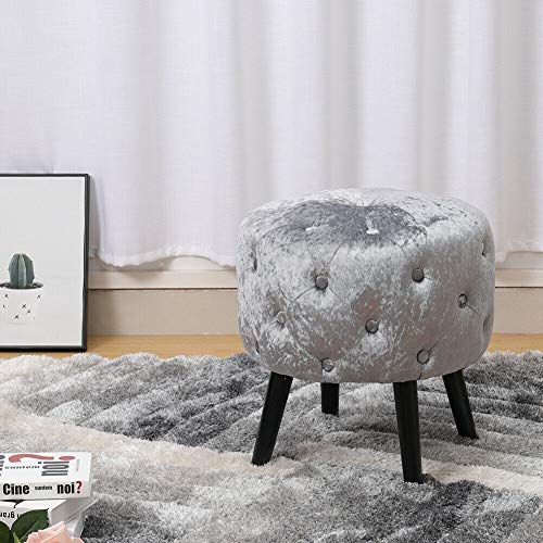 ADHW Dressing Table Round Stool Piano Seat Velvet Button Padded Makeup Vanity Chair (Color : Silver Grey)