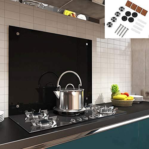 Melko Spritzschutz Herdblende aus Glas, für Küche, Herd, Fliesen, 6 mm ESG Sicherheitsglas, Küchenrückwand, inkl. Schrauben, 100 x 50 cm, Schwarz