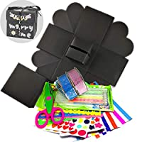 Come with video tutorial for handmade exploding box gift Explosion box kit With ACCESSORIES:1 x exploding box card,1 x Heart sticker,1 x Stars sticker,1 x Circle sticker,4 x Metal pens,4 x Drawing Templates,3 x Sheets corner sticker,2 x Lace tape DIY...