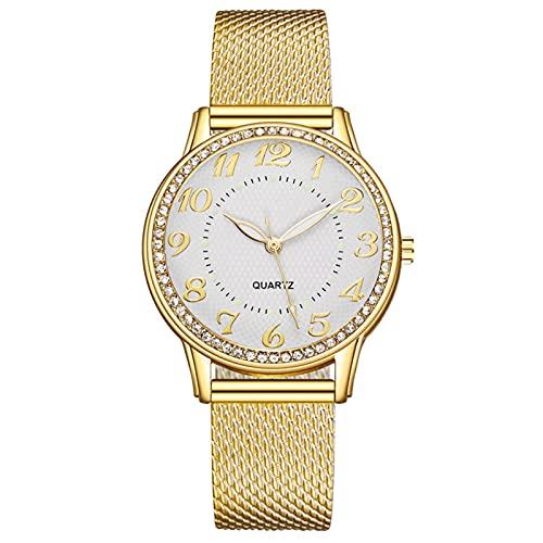 Qqkkabb Lujo de acero inoxidable Dial Señora Cuarzo Relojes de pulsera de oro redondo reloj de pulsera de moda de las mujeres relojes de vestir mujeres